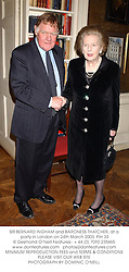 SIR BERNARD INGHAM and BARONESS THATCHER, at a party in London on 24th March 2003.	PIH 33