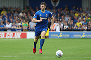 AFC Wimbledon defender Jon Meades (3) dribbling during the EFL Sky Bet League 1 match between AFC Wimbledon and Oldham Athletic at the Cherry Red Records Stadium, Kingston, England on 21 April 2018. Picture by Matthew Redman.