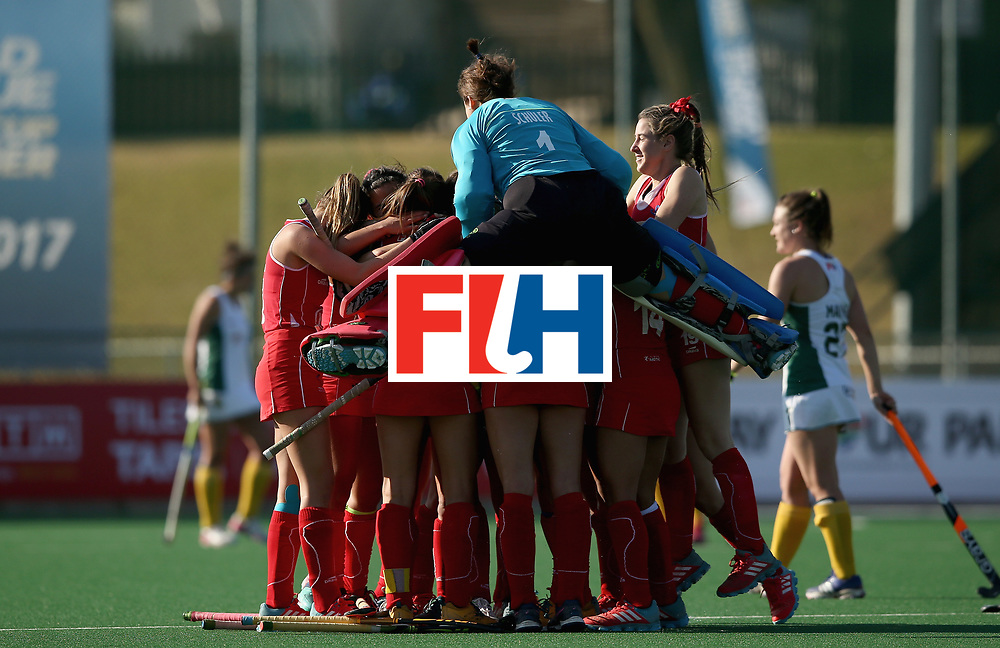 JOHANNESBURG, SOUTH AFRICA - JULY 14: Chile players celebrate victory after day 4 of the FIH Hockey World League Semi Finals Pool B match between Chile and South Africa at Wits University on July 14, 2017 in Johannesburg, South Africa. (Photo by Jan Kruger/Getty Images for FIH)