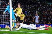 Leeds United forward Patrick Bamford (9) scores a goal to make the score 3-2 during the EFL Sky Bet Championship match between Leeds United and Millwall at Elland Road, Leeds, England on 28 January 2020.
