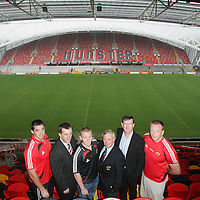 ***********FREE**********WITH COMPLIMENTS**********<br /> Alan Quinlan, Gareth Fitzgerald-CEO Munster Rugby, Keith Earls, Nicholas Comyn-President Munster Branch, Patrick Manley-CEO Zurich and Mick O Driscoll pictured at the announcement of the Zurich sponsorship of Munster v All Blacks game to officially open Thomand Park pictured in Thomand Park on Thursday.<br /> Pic. Brian Arthur/ Press 22