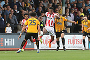 Louis John and Manny Duku  during the EFL Sky Bet League 2 match between Cambridge United and Cheltenham Town at the Cambs Glass Stadium, Cambridge, England on 25 August 2018.
