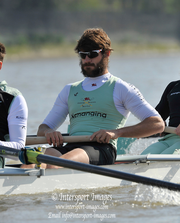 Putney, GREAT BRITAIN,  Tuesday Morning,  CUBC No. 6, Steve DUDEK, Cambridge Training Outing, Tideway week ,on the championship course. Putney/Mortlake, Tuesday   03/04/2012 [Mandatory Credit, Peter Spurrier/Intersport-images]