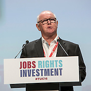 Ronnie Draper, General Secretary of the BAFWU speaking at the TUC congress 2016, Brighton. UK.