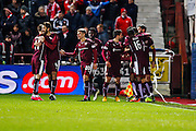 Hearts FC Defender Callum Paterson celebrates the opening goal  during the Scottish Cup fourth round match between Heart of Midlothian and Aberdeen at Tynecastle Stadium, Gorgie, Scotland on 9 January 2016. Photo by Craig McAllister.