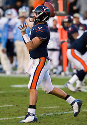 "Virginia quarterback Marc Verica (6) in action against UNC.  The Virginia Cavaliers defeated the #18 ranked North Carolina Tar Heels 16-13 in overtime in NCAA football at Scott Stadium on the Grounds of the University of Virginia in Charlottesville, VA on October 18, 2008.  The 113th meeting of the two teams, dubbed the ""Oldest Rivalry in the South"", saw UVA continue its streak of consecutive home victories over UNC -- the last time the Tar Heels won in Charlottesville was 1981."