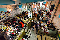 Interior view of a local Israeli restaurant, Jerusalem, Israel.