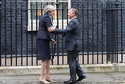 Downing Street, London, March 1st 2017. British Prime Minister Theresa May welcomes King Abdullah II of Jordan to 10 Downing Street for bilateral talks.