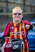 A Bradford city supporter arriving at the Utilita Energy Stadium before the EFL Sky Bet League 2 match between Bradford City and Northampton Town at the Utilita Energy Stadium, Bradford, England on 7 September 2019.