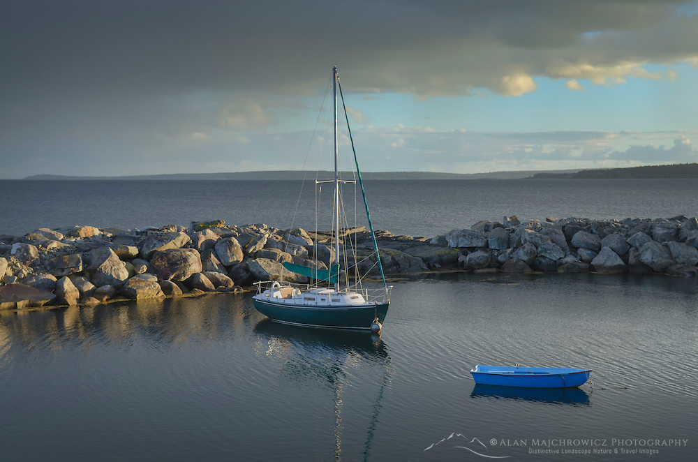 Sailboat and blue rowboat, Blue Rocks Nova Scotia