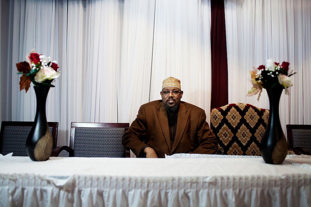 Sheik Abdirahman Ahmed, the Imam from Abubakar as-Saddique Islamic Center in Minneapolis, has been accused of being linked to the disappearance of more than 20 young Somali immigrants whom he allegedly recruited to return to Somalia and fight a holy war. Photographed at the Abubakar As-Saddique Islamic Center in Minneapolis, Minnesota on Thursday, January 22, 2009.