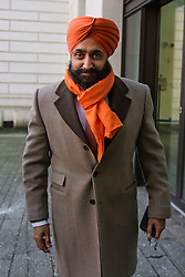 © Licensed to London News Pictures. 18/01/2017. London, UK. Conservative Party donor and Businessman PETER SINGH VIRDEE arrives at Westminster Magistrates Court in London where he faces extradition to Germany. Mr Virdee, who was arrested at Heathrow airport, is accused by German prosecutors of being part of a criminal enterprise to defraud the authorities of €125m (£109m) of VAT on carbon credits under the EU Emissions Trading Scheme. Photo credit: Ben Cawthra/LNP