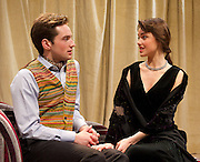 The Green Bay Tree <br /> by Mordaunt Shairp<br /> at the Jermyn Street Theatre, London, Great Britain <br /> press photocall <br /> 26th November 2014 <br /> directed by Tim Luscombe<br /> <br /> <br /> <br /> Christopher Leveaux as Julian <br /> Poppy Drayton as Leonora<br /> <br /> <br /> <br /> Photograph by Elliott Franks <br /> Image licensed to Elliott Franks Photography Services