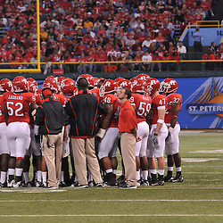 Dec 19, 2009; St. Petersburg, Fla., USA; Rutgers huddles up in a timeout during NCAA Football action in Rutgers' 45-24 victory over Central Florida in the St. Petersburg Bowl at Tropicana Field.