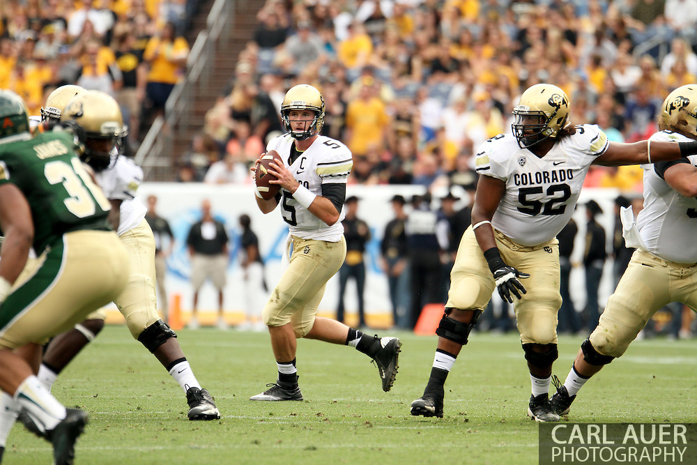 September 1st, 2013 - Colorado Buffaloes junior quarterback Connor Wood (5) looks for a open receiver during the first half of the NCAA football game between the Colorado Buffaloes and the Colorado State Rams at Sports Authority Field in Denver, CO