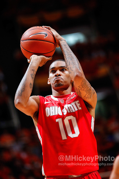 CHAMPAIGN, IL - JANUARY 05: LaQuinton Ross #10 of the Ohio State Buckeyes is seen during the game against the Illinois Fighting Illini at Assembly Hall on January 5, 2013 in Champaign, Illinois. Ilinois defeated Ohio State 74-55. (Photo by Michael Hickey/Getty Images) *** Local Caption *** LaQuinton Ross