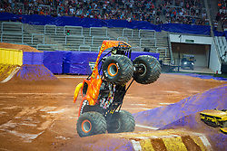 December 16, 2017 - Sao Paulo, Sao Paulo, Brazil - El Toro Loco lands after a jump during a round of racing. Monster Jam was held at Corinthians Stadium, in Sao Paulo, Brazil. (Credit Image: © Paulo Lopes via ZUMA Wire)