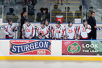 KELOWNA, CANADA - OCTOBER 16: The Lethbridge Hurricanes stand on the bench at the Kelowna Rockets on October 16, 2013 at Prospera Place in Kelowna, British Columbia, Canada.   (Photo by Marissa Baecker/Shoot the Breeze)  ***  Local Caption  ***
