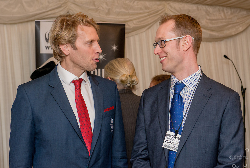 Andrew Triggs Hodge OBE with Earth Hour Hero finalist at WWF UK Earth Hour 10th Anniversary Parliamentary Reception, Terrace Pavilion, Palace of Westminster. 28th Feb. 2017