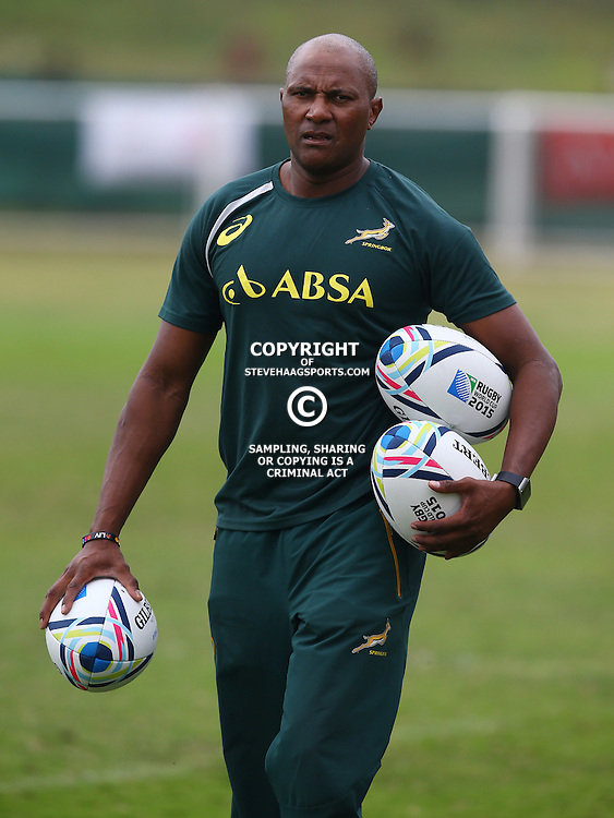 DURBAN, SOUTH AFRICA - SEPTEMBER 01: JJ Fredericks (Logistics Manager) during the South African national rugby team training session at Peoples Park on September 01, 2015 in Durban, South Africa. (Photo by Steve Haag/Gallo Images)