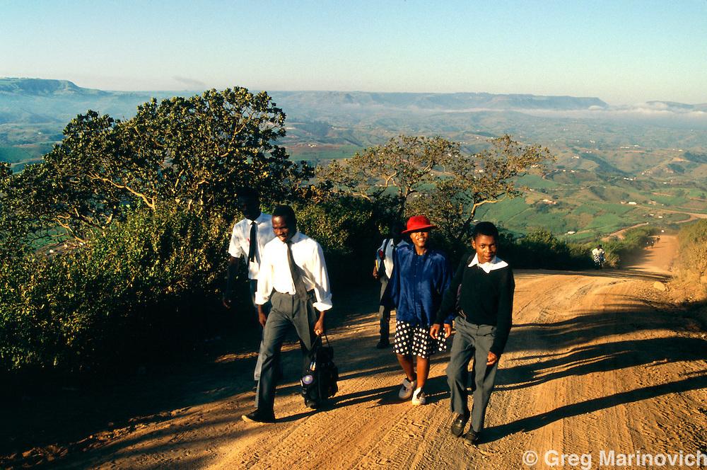 KwaZulu Natal, South Africa, 1994. Schoolchildren walk miles to school in rural KwaZulu Natal, 1994.