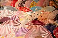Colourful Japanese fans for sale at a souvenir shop in Kyoto, Japan