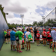August 21, 2016, New Haven, Connecticut: <br /> Fans wait to enter the grandstand during Day 3 of the 2016 Connecticut Open at the Yale University Tennis Center on Sunday, August  21, 2016 in New Haven, Connecticut. <br /> (Photo by Billie Weiss/Connecticut Open)