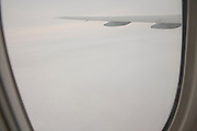 View from cabin through window of international airliner