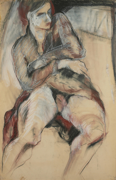 I did this when I was in art school in Seattle. If a model did not show, one of the students had to pose. He was a fellow student. He volunteered, someone threw him a kimono, he took a pose, and I drew away. Materials: Pastel and charcoal on museum-grade archival quality Rives paper