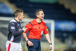 Falkirk's John Baird and ref Andrew Dallas. <br /> Falkirk 1 v 0 Cowdenbeath, Scottish Championship game played 31/3/2015 at The Falkirk Stadium.