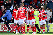 Walsall forward Jordy Hiwula celebrates after scoring the opening goal 1-0 during the Sky Bet League 1 match between Walsall and Southend United at the Banks's Stadium, Walsall, England on 16 April 2016. Photo by Chris Wynne.