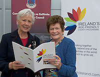 Deirdre Conway Bonham Barna and Frances O Reilly at NUIG for the launch of the Galway Age Friendly Strategy, which sets out a plan to make Galway City and County a great place in which to grow up and grow old. The Strategy was developed following extensive consultation with older people across the city and county and aims to ensure that older people continue to be supported to play an active role in their communities. The launch of the strategy is an important milestone as it sets out a blueprint for how we will plan and develop communities in the coming years to ensure that Galway is a truly great place in which to grow up and grow old. Photo:Andrew Downes