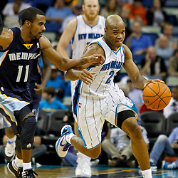 December 21, 2011; New Orleans, LA, USA; New Orleans Hornets point guard Jarrett Jack (2) drives past Memphis Grizzlies point guard Mike Conley (11) during the second quarter of a game at the New Orleans Arena.   Mandatory Credit: Derick E. Hingle-US PRESSWIRE
