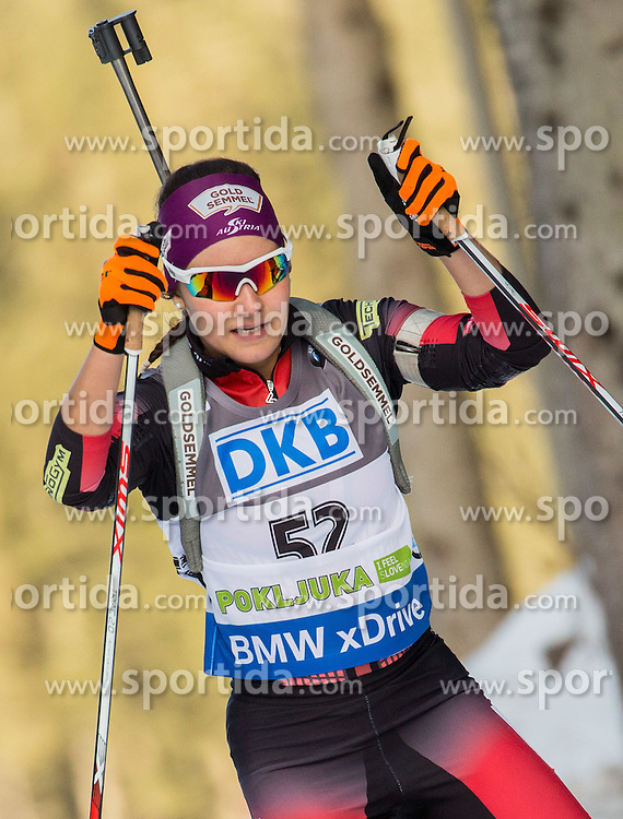 Dunja Zdouc (AUT) competes during Women 7,5 km Sprint at day 2 of IBU Biathlon World Cup 2015/16 Pokljuka, on December 18, 2015 in Rudno polje, Pokljuka, Slovenia. Photo by Vid Ponikvar / Sportida