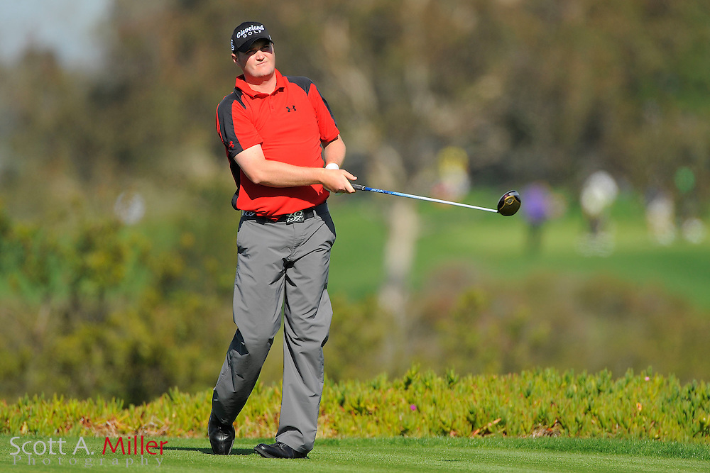 Jason Kokrak tees off on the ninth hole during the second round of the Farmers Insurance Open on the North Course at Torrey Pines on Jan. 27, 2012 in La Jolla, California. ..©2012 Scott A. Miller