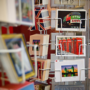 Postcards of famous London landmarks on sale for tourists