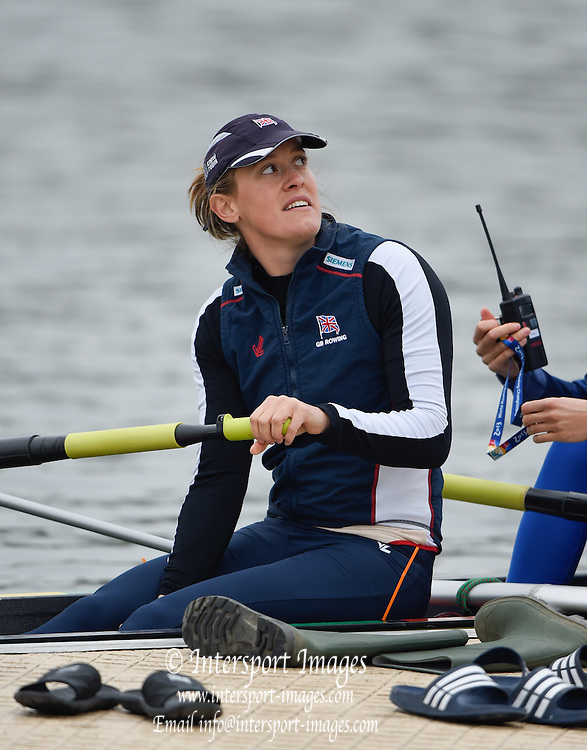 Caversham  Great Britain.<br /> Lousisa REEVE, listening to the coach before the finalsat the 2016 GBR Rowing Team Olympic Trials GBR Rowing Training Centre, Nr Reading  England.<br /> <br /> Wednesday  23/03/2016 <br /> <br /> [Mandatory Credit; Peter Spurrier/Intersport-images]