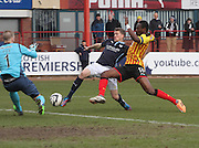 Partick Thistle goalkeeper Scott Fox denies Dundee's Jim McAlister - Dundee v Partick Thistle, SPFL Premiership at Dens Park<br /> <br />  - &copy; David Young - www.davidyoungphoto.co.uk - email: davidyoungphoto@gmail.com