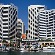 CBD skyline and the Darling Harbour waterfront  in Cockle Bay in downtown Sydney