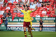 Burnley midfielder, George Boyd (21) celebrating scoring 0-2 during the Sky Bet Championship match between Charlton Athletic and Burnley at The Valley, London, England on 7 May 2016. Photo by Matthew Redman.