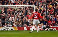 Photo. Richard Lane<br />Manchester United v Real Madrid. UEFA Champions League. 23/04/2003<br />John O'Shea looks on as Fabien Barthez lets Ronaldo put one past him.