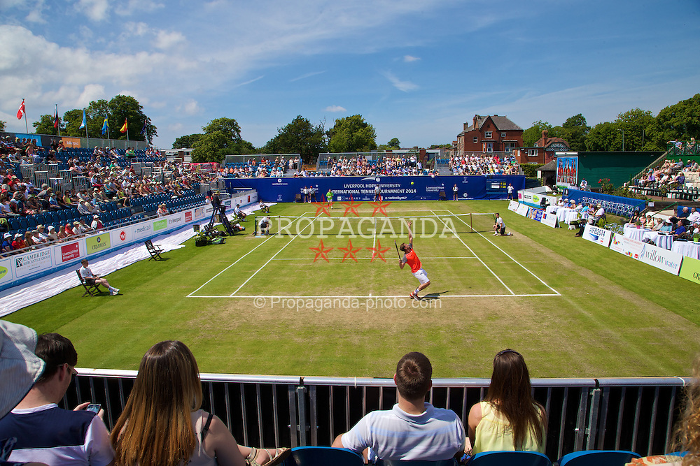 LIVERPOOL, ENGLAND - Sunday, June 22, 2014: Jan-Michael Gambill (USA) serves to Michael Pernfors (SWE) during Day Four of the Liverpool Hope University International Tennis Tournament at Liverpool Cricket Club. (Pic by David Rawcliffe/Propaganda)