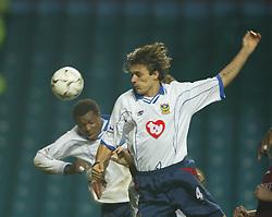BIRMINGHAM, ENGLAND - Tuesday, January 6, 2004: Portsmouth's Aiyegbeni Yakubu scores an equaliser against Aston Villa during the Premiership match at Villa Park. (Pic by David Rawcliffe/Propaganda)