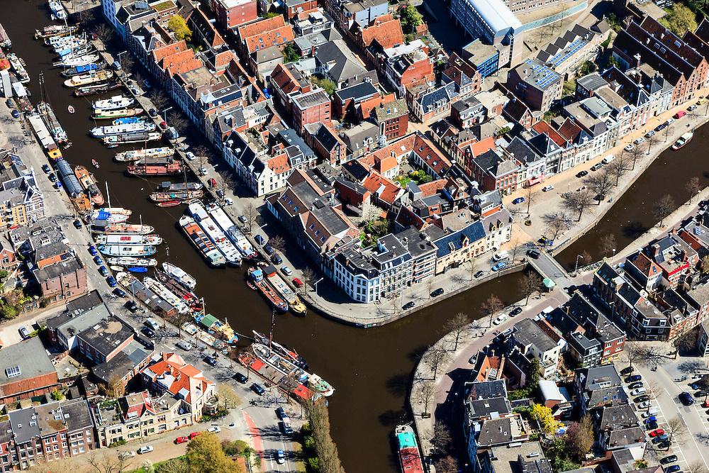 Nederland, Groningen, Groningen, 01-05-2013;<br /> Groningen-stad, centrum. Links water van Nooderhaven, rechts Hoge der A, onder Reitdiep.<br /> Detail and close-up of the city of Groningen, old town. Noorderhaven.<br /> luchtfoto (toeslag op standard tarieven)<br /> aerial photo (additional fee required)<br /> copyright foto/photo Siebe Swart