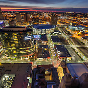 View of Power and LIght District area at sunrise in downtown Kansas City, Missouri.