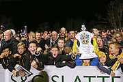 Sutton United fans with replica FA Cup during the The FA Cup match between Sutton United and Arsenal at Gander Green Lane, Sutton, United Kingdom on 20 February 2017. Photo by Phil Duncan.