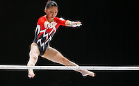 Asuka Teramoto of japan competes on the Uneven Bars during the women's all around final at the Artistic Gymnastics World Championships in Antwerp, Belgium, 04 October 2013.