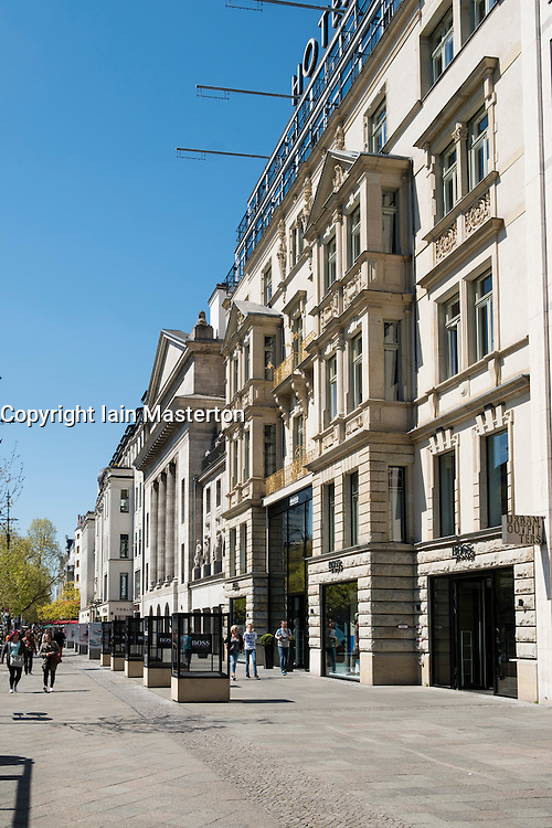 Traditional architecture of shops on famous Kurfurstendamm, Kudamm, shopping street in Charlottenburg, Berlin Germany