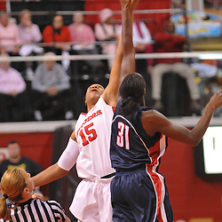 Feb 5, 2008; Piscataway, NJ, USA; Rutgers center Kia Vaughn (15) beats UConn center Tina Charles (31) for the tip-off at the start of Rutgers' 73-71 victory at Louis Brown Athletic Center.