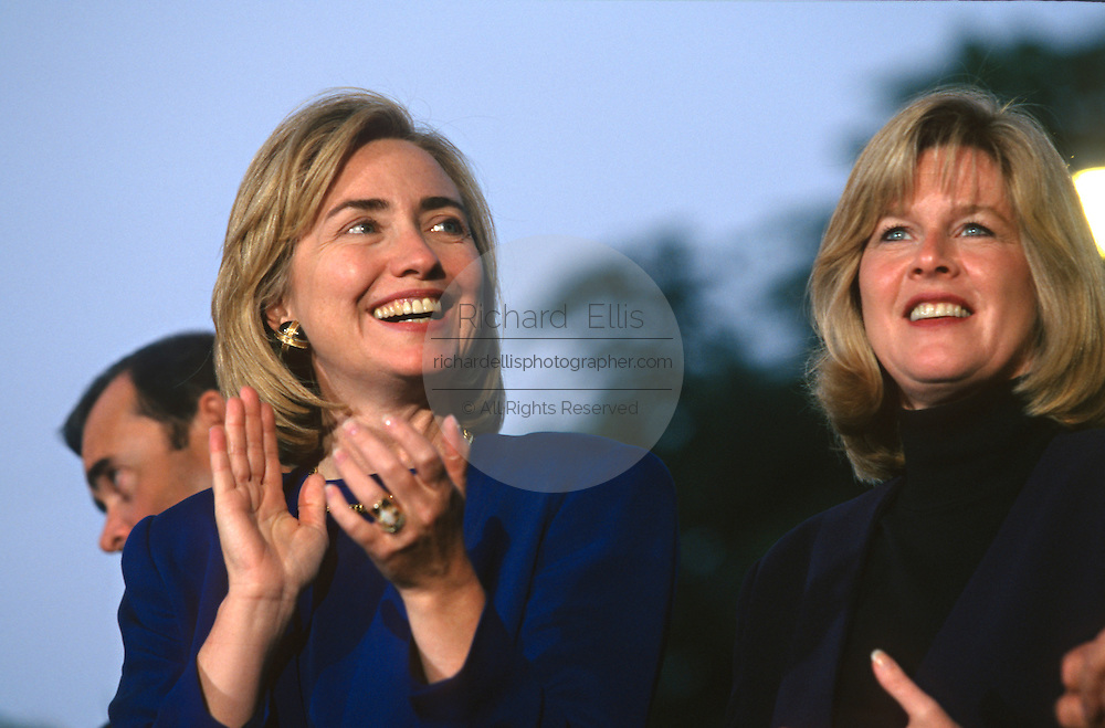 U.S. First lady Hillary Clinton and Tipper Gore during a campaign stop on the presidential re-election bus tour August 30, 1996 in Cape Girardeau, MO.